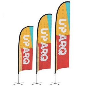 24-Hour Ship 12' Premium Feather Flag Kit Pole Stand Ground Spike Base (Single-Sided, Dye Sublimate)