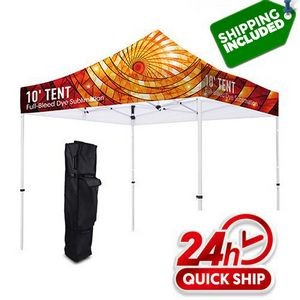 48 Hour Ship Premium 10' Custom Canopy Tent Aluminum Frame Stand Full Color Graphic Kit