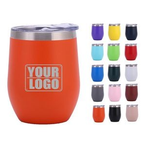 12oz Powder Coated Vacuum Insulated Wine Tumbler With Lid